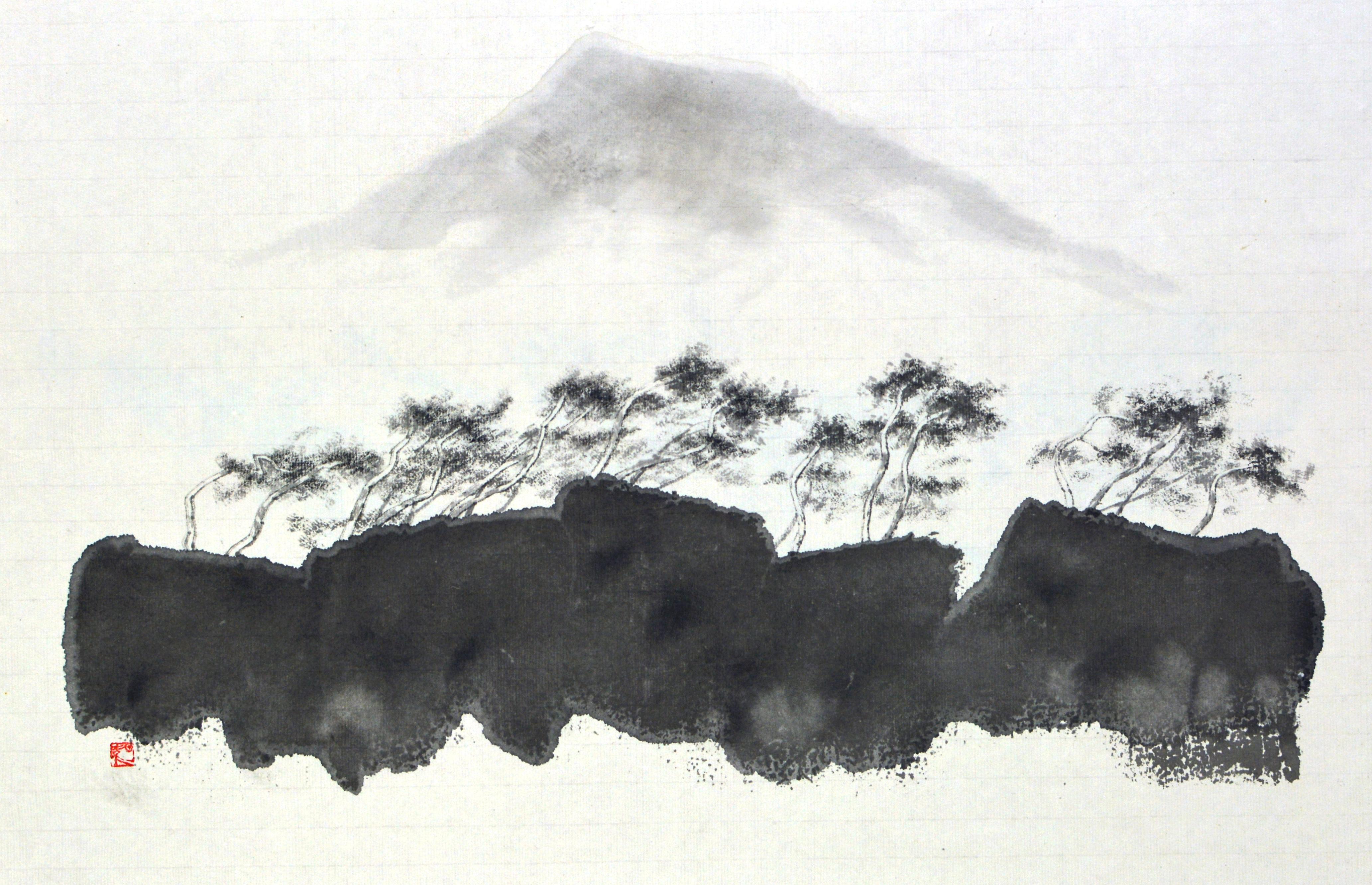 한라산이 보이는 풍경, 53.3x35cm, 화선지에 수묵, 2016