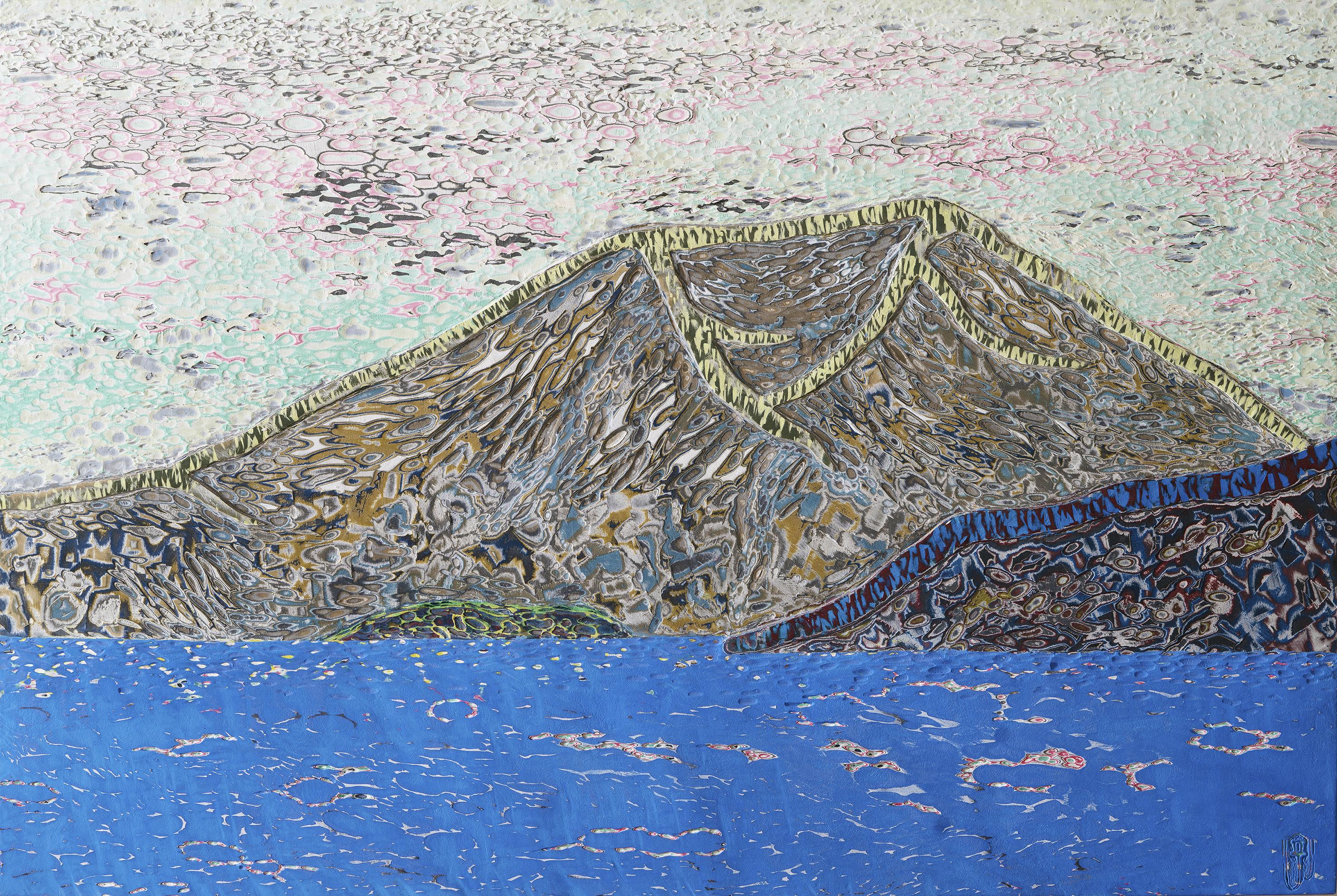 011, 김재신, 섬, 97 x 146 cm(80호), 나무판 위 색조각