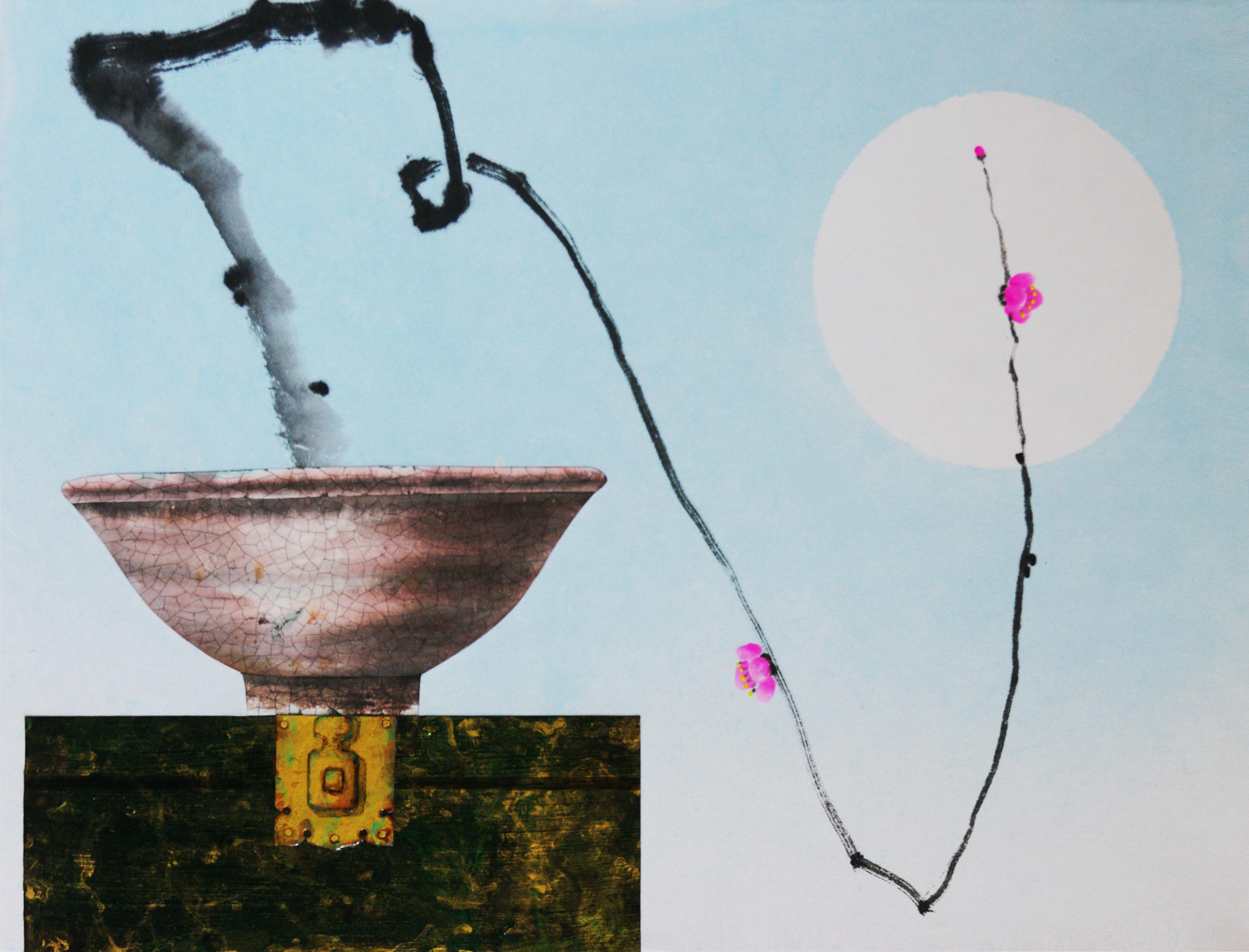 오관진2, 비움과 채움(복을 담다), 53 x 41 cm, 한지에 혼합재