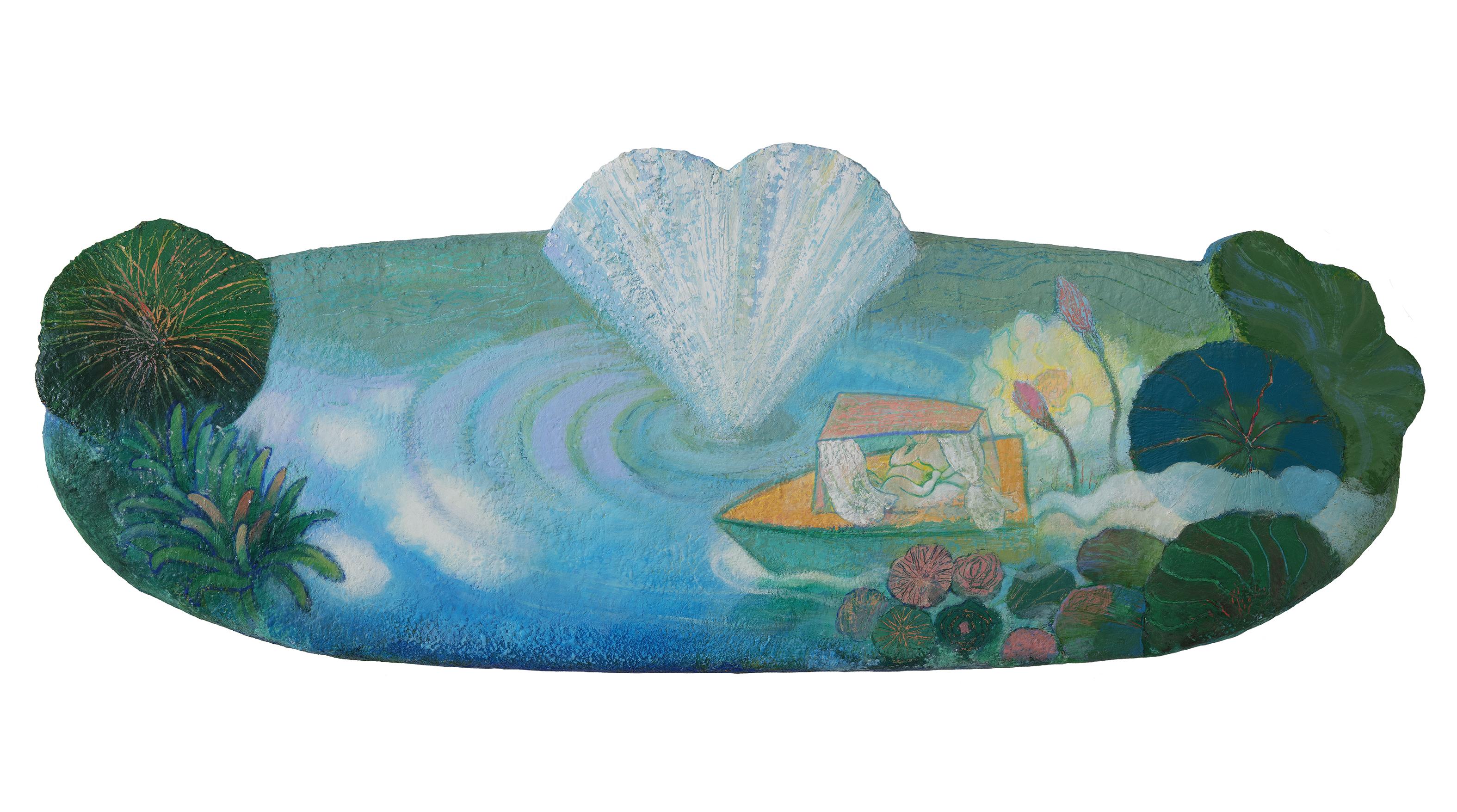 014, 문선영, 연못 풍경, 126 x 49 cm, 아크릴 및 혼합재료