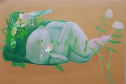 문선미 3, 그녀의 정원-바우어새, 57x38cm, oil on canv