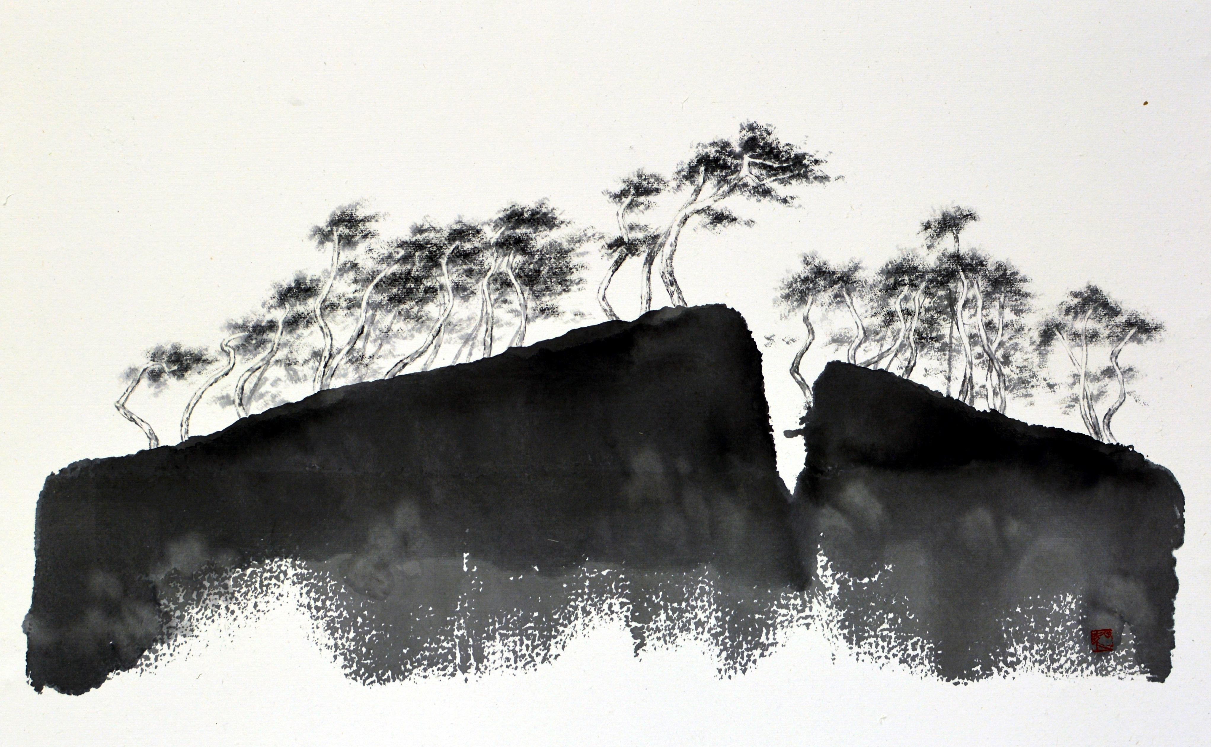 형제섬, 53.3x35cm, 화선지에 수묵, 2016