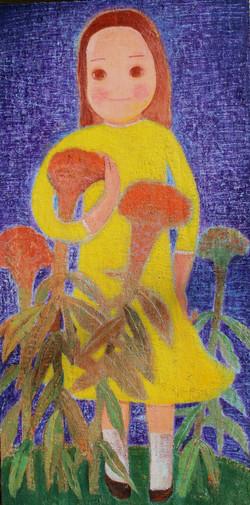 015, 금영보, 꽃과 소녀, 80.0 x 40