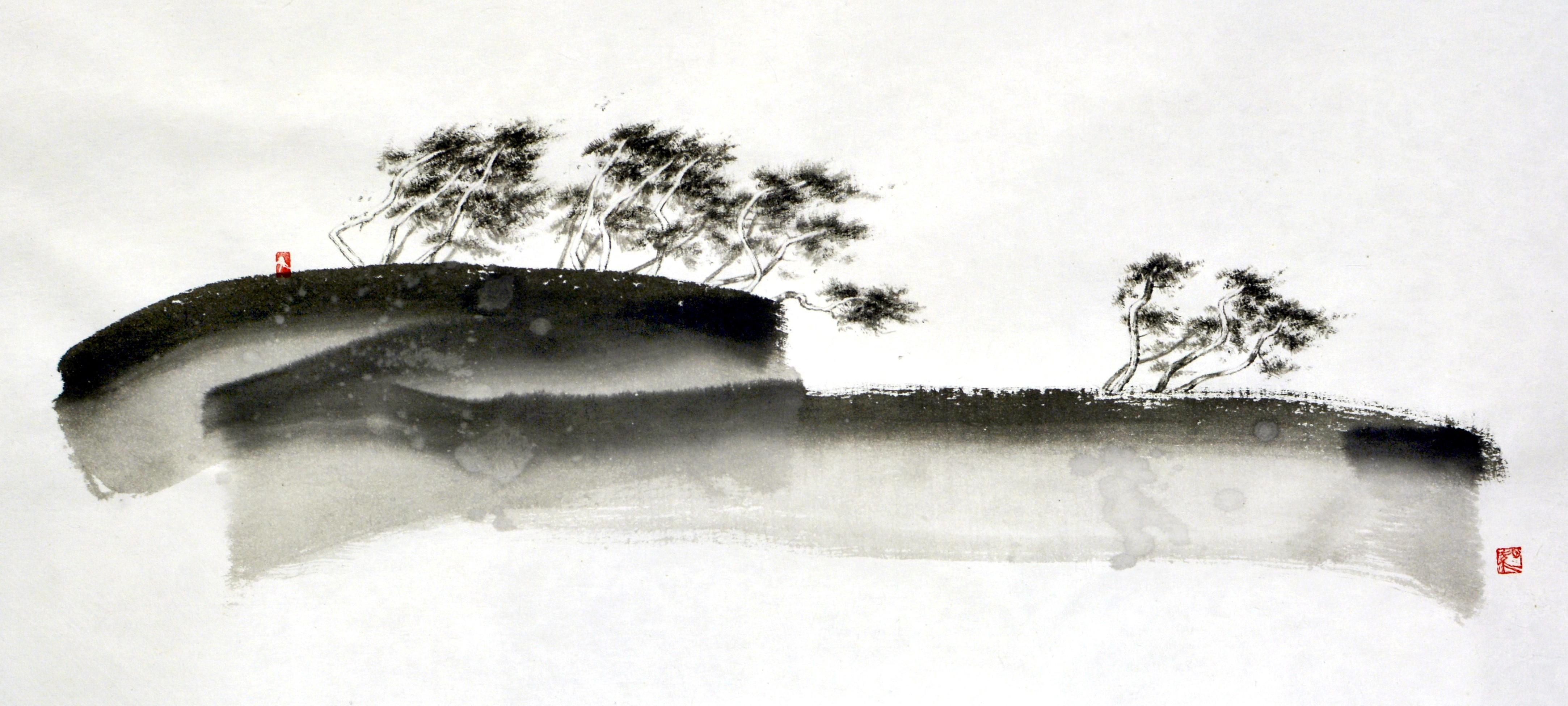 송승호002. 송화 날리는 언덕길, 60x30cm, 한지에 수묵, 2017