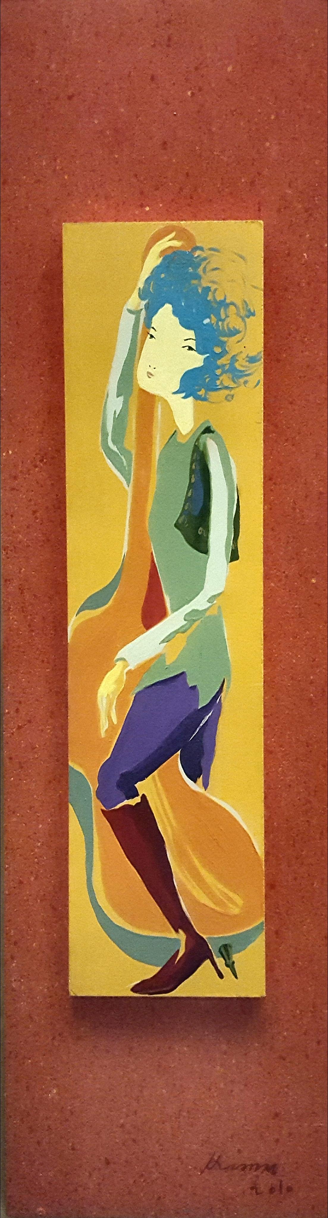 첼로연주, 20x73cm, 목판에 아크릴, 2010