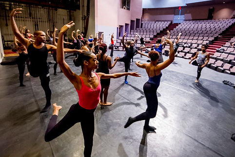 Alabama State University studets tae class with Dayton Cotemporary Dance Company. Photo credit:Alabama State University