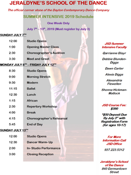 Jeraldyn's School of Dance 2019 Summer Intensive