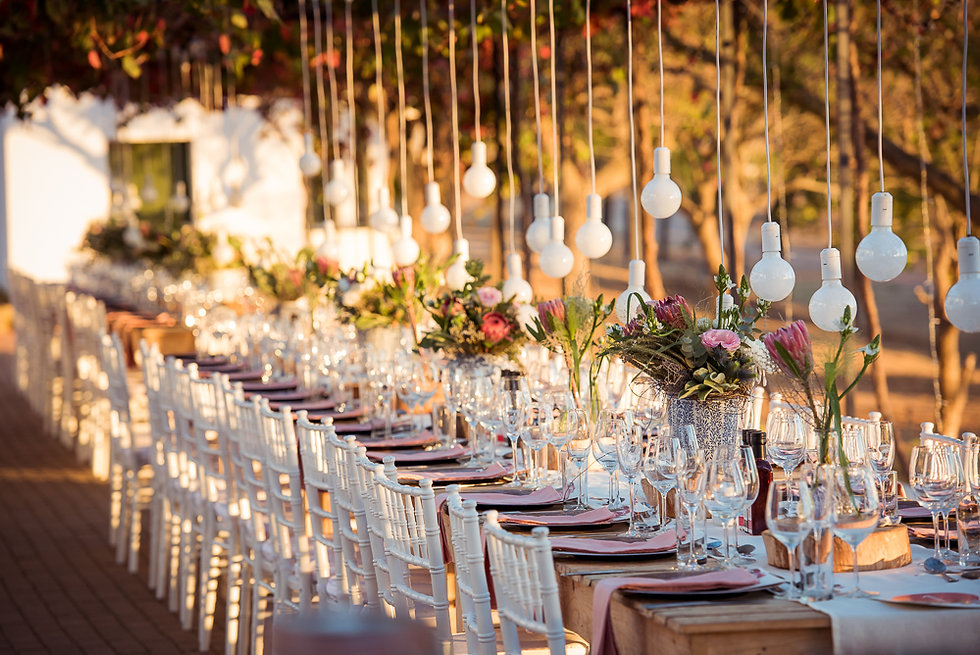 Hanging bulbs  weddings Cape Town