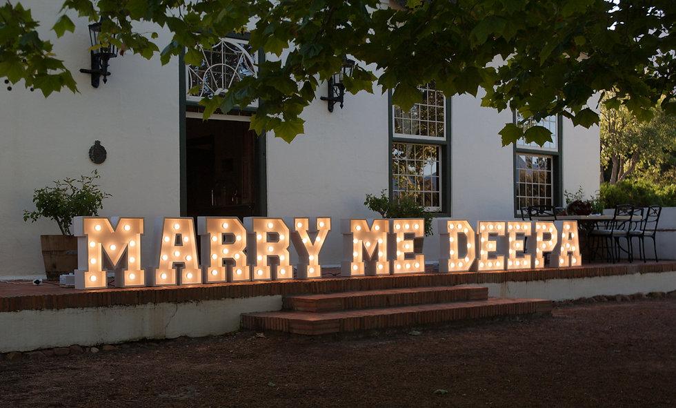 Letter lights hire Cape Town