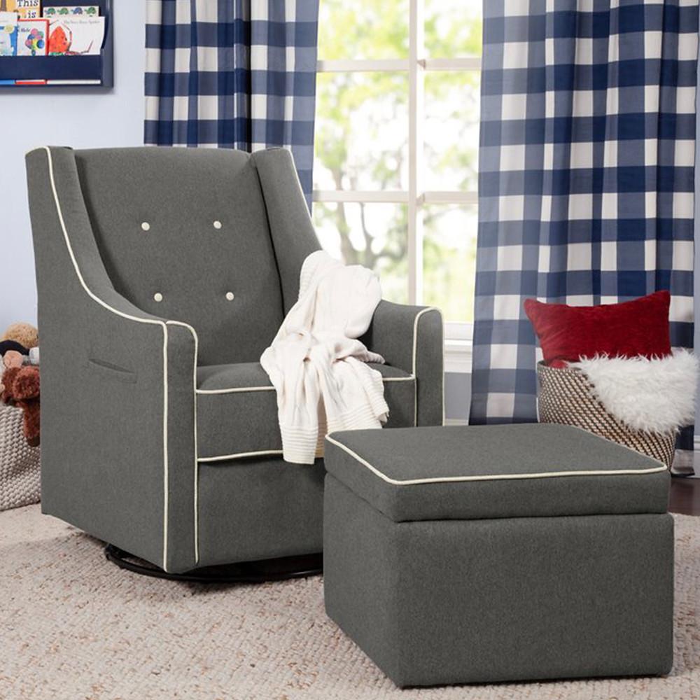 Davinci baby Owen glider and ottoman dark gray with cream piping nursing chair