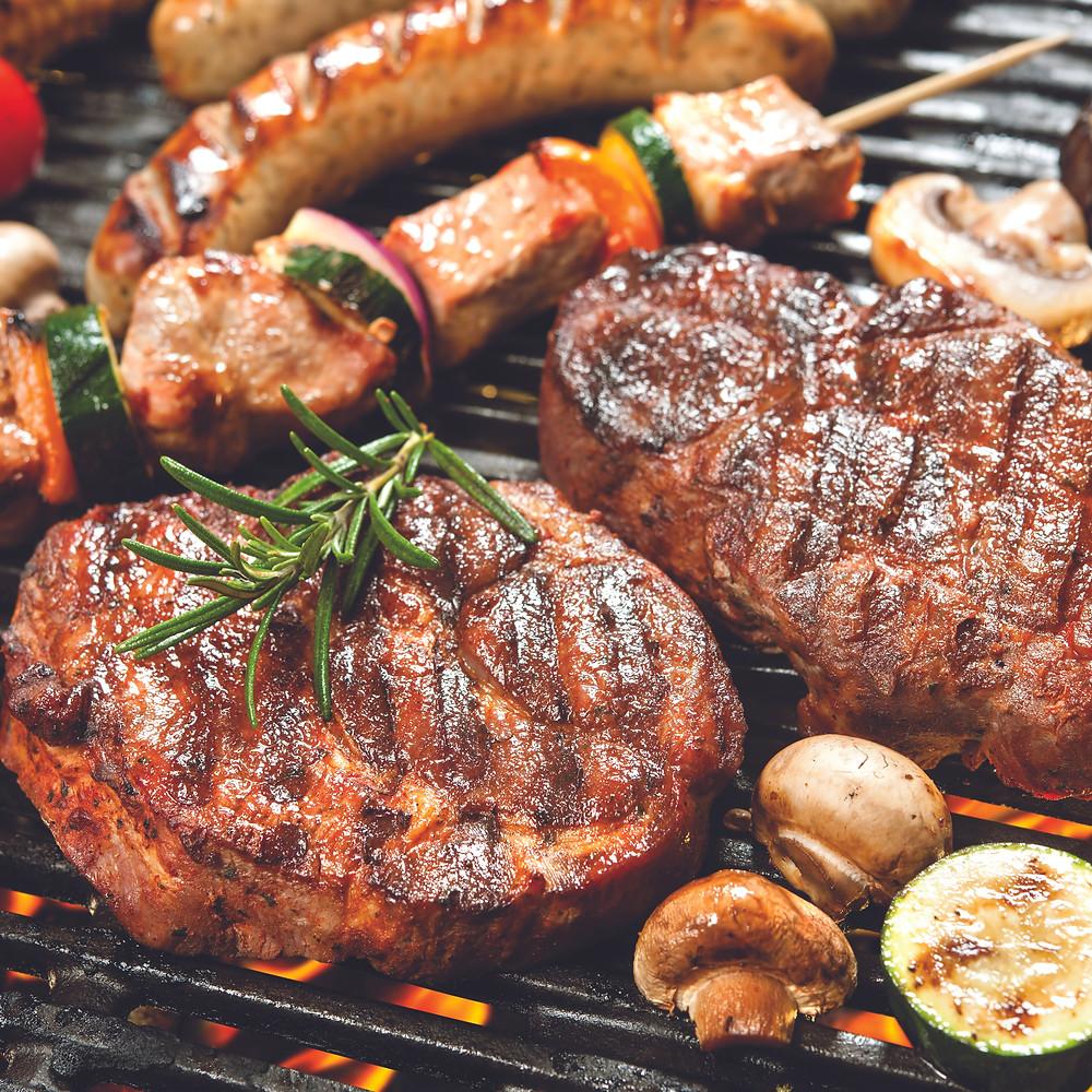 grilling meat steak