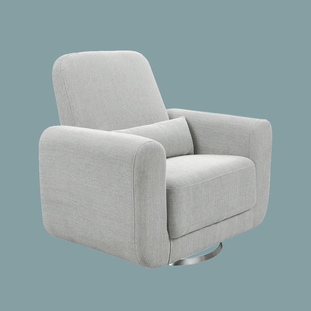 Babyletto tuba extra wide swivel glider winter grey weave nursing chair