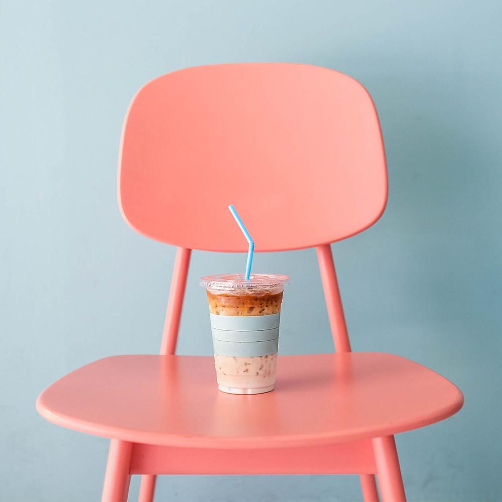 Iced Coffee on a chair