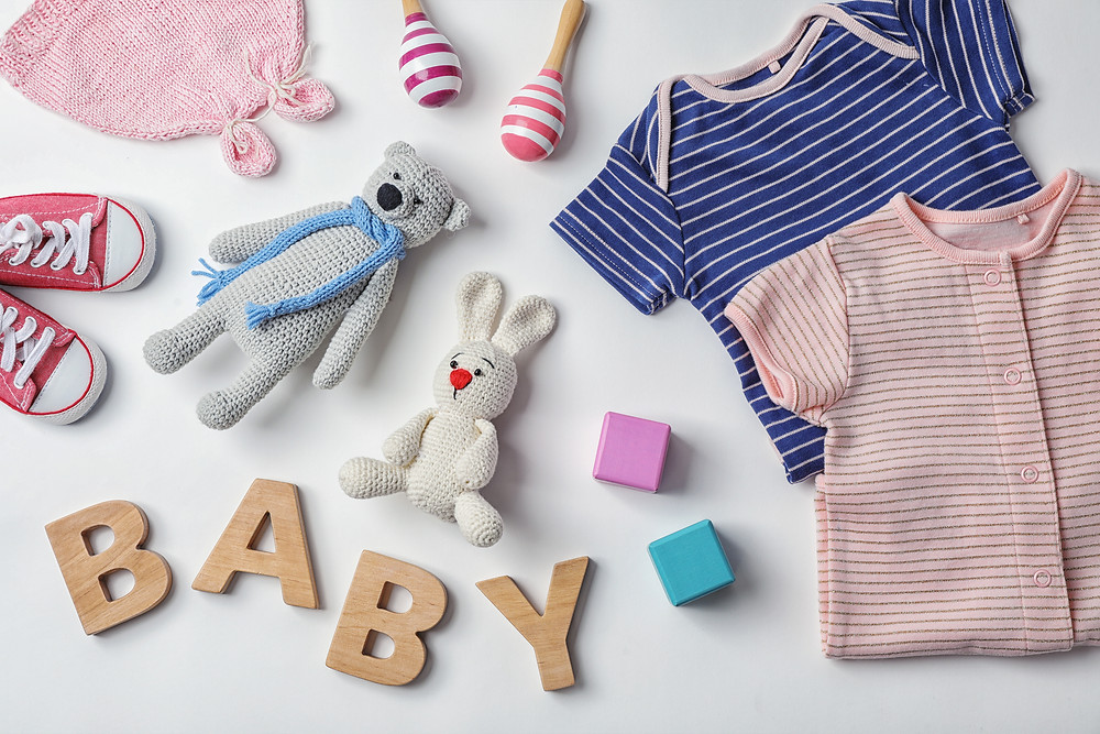 laid out baby basic items