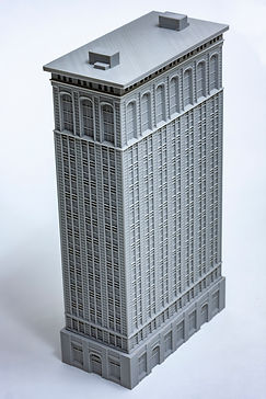 A 3D printed model of a buildingin the Chicago School architectural style