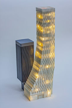 3D printed Models of the Rainer an Reainer Square towers