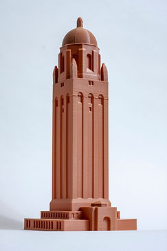 A chavant brown 3D printed model of the Hoover tower