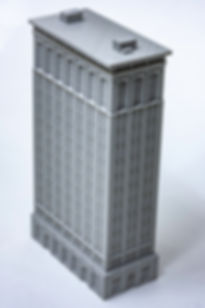 A large grey model of a building in the Chicago School architectural style
