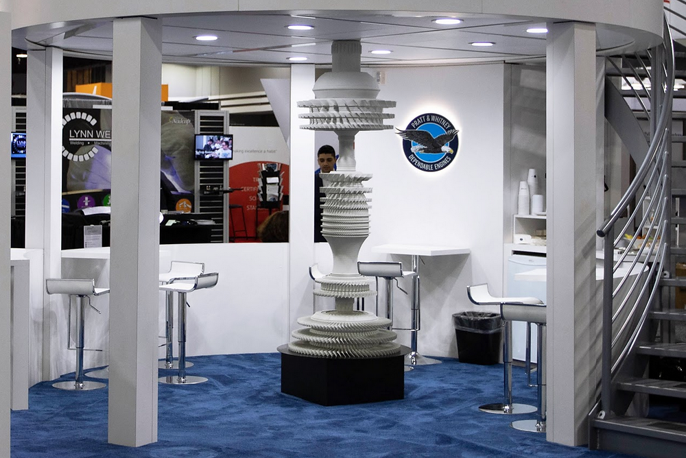 Replica of the Pratt & Whitney geared turbo fan engine at a trade show