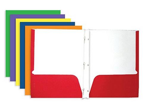 Pocket Folders, Paper w/ Prongs
