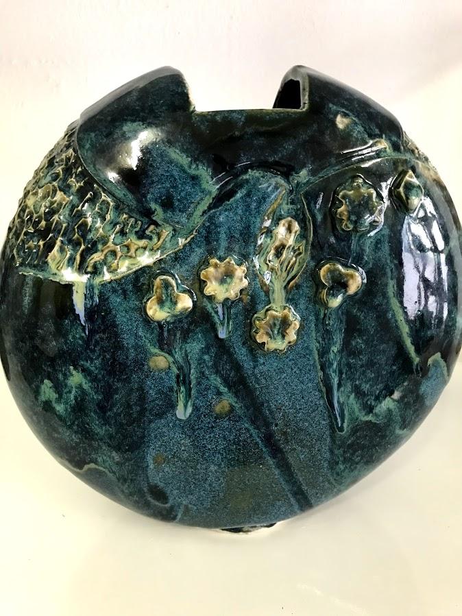 Vase vert rond droit