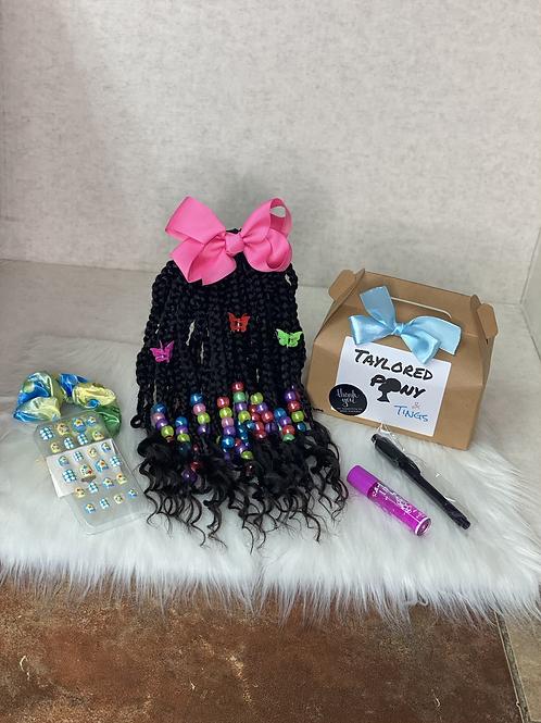 Rainbowful (braids w/curly tips)