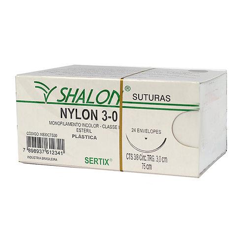 NYLON 3-0 INCOLOR 3/8 TRIANG 3,0CM 75CM SHALON (C/24)