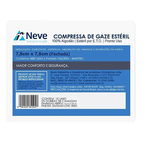 COMPRESSA GAZE ESTERIL 11 FIOS NEVE (180x10)