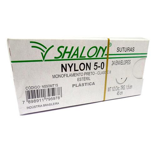 NYLON 5-0 PRETO 1/2 TRIANG 2,5CM 45CM SHALON (C/24)