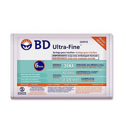 SERINGA INS BD U-FINE 100UI (1,0ML) C/AG 6MM C/10UN ( 324918)