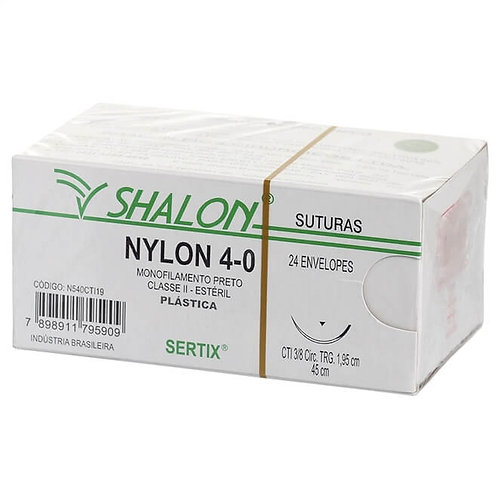 NYLON 4-0 45CM 3/8 CIR. TRG. 2.0 CM SHALON (C/24)