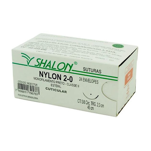 NYLON 4-0 PRETO 3/8 TRIANG 2,0CM 45cm SHALON (C/24)