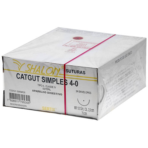 CATGUT SIMPLES 4-0 70CM 1/2 CIR TRIANG 1,5CM SHALON (C/24)
