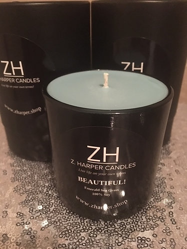 """""""BEAUTIFUL"""" Emerald Sea Grass 100% Soy Candle 10 oz black glass container"""