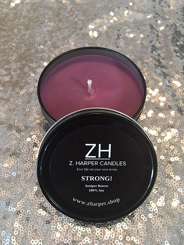 """STRONG"" Juniper Breeze 100% Soy Candle 8oz travel tin container"