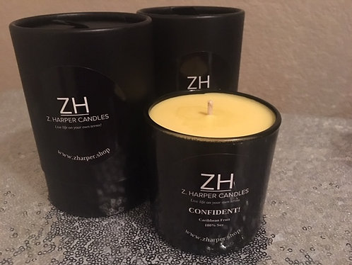 """CONFIDENT"" Caribbean Fruit 100% Soy Candle 10 oz black glass container"