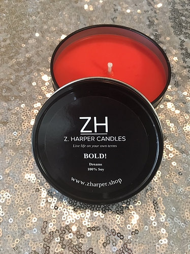"""BOLD"" Dreams 100% Soy Candle 8oz travel tin container"