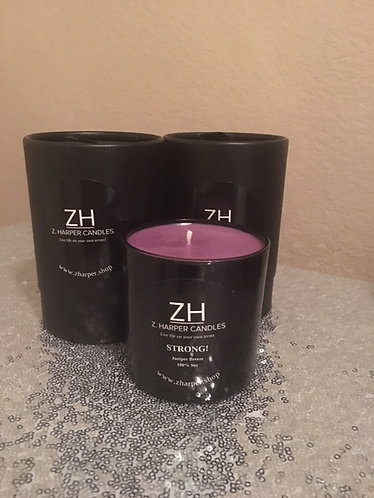 """STRONG"" Juniper Breeze 100% Soy Candle 10 oz black glass container"