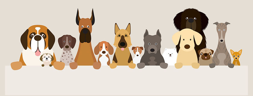group-of-dog-breeds-holding-banner-vecto