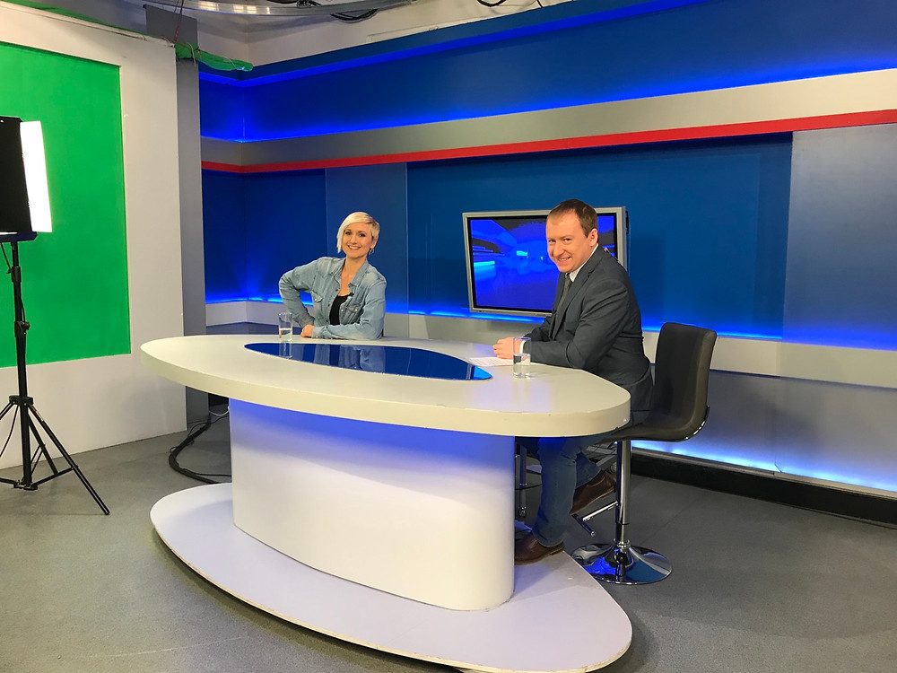 Maximiliane Meissner in the local TV-studio as seen by the interpreter.
