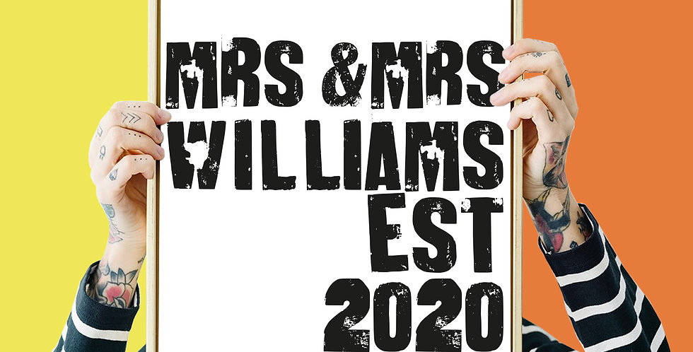 Mrs an Mrs Wedding Est Bespoke / Personalised Letter Press Giclee Print A3