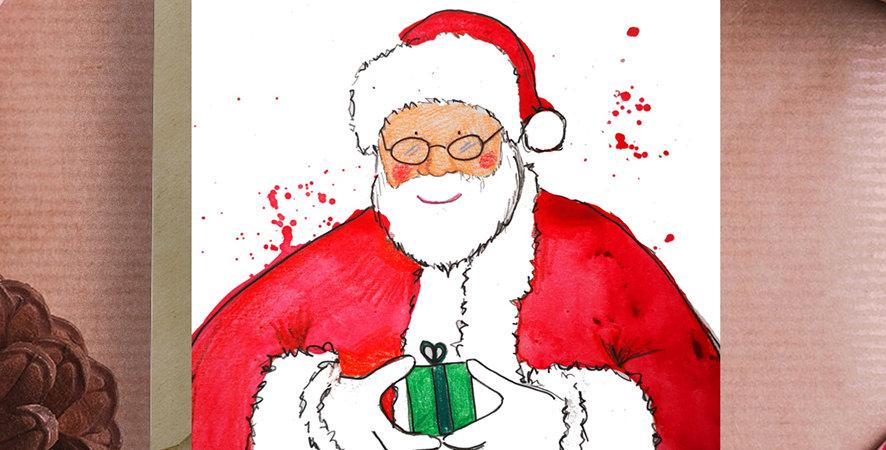 6x Father Christmas, Christmas Card