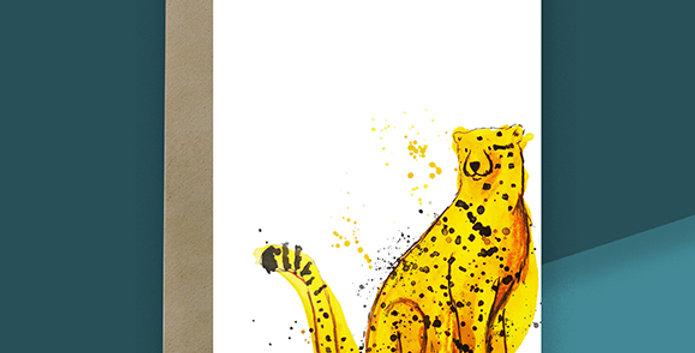 6x Cheetah Blank Card