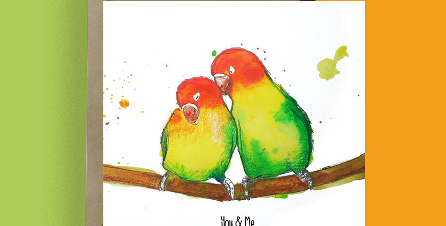 You and Me Love Birds Card