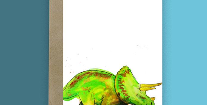 Triceratops Dinosaur Blank Card
