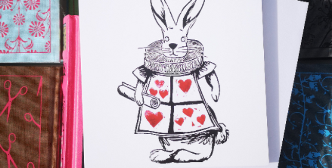Alice in Wonderland White Rabbit  Blank Card