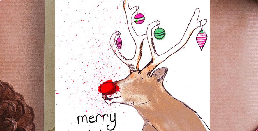 6x Rudolph Christmas Card