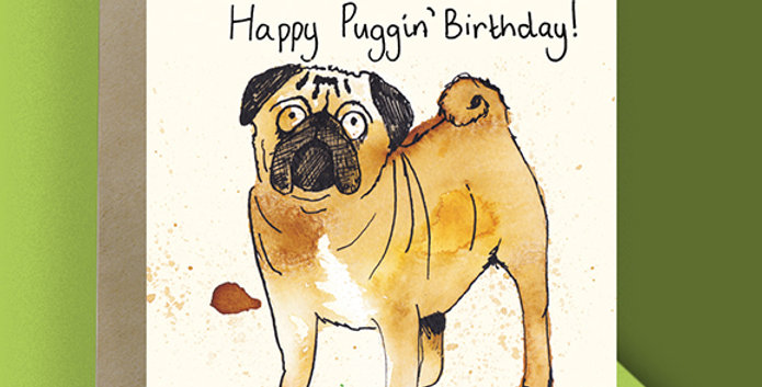 6x Happy Puggin' Birthday Cards
