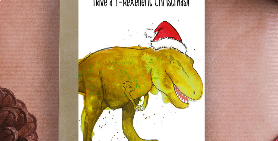 6x Have a T-Rexellent Christmas! Christmas Card
