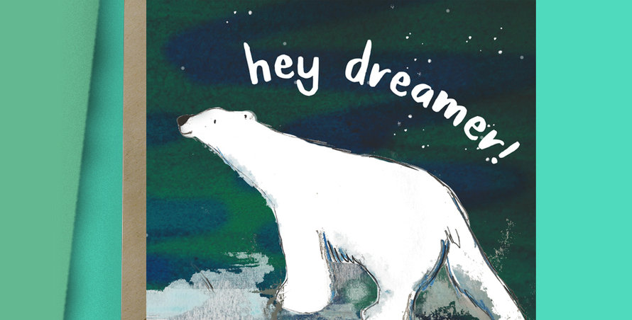 6x Hello Dreamer Polar bear Card